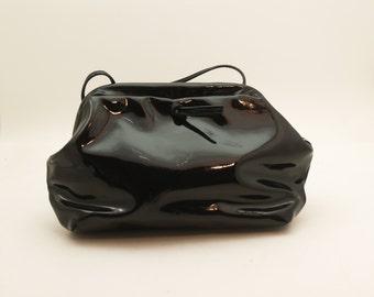 Vintage Vegan Black Patent 1980's Shoulder Bag with Long Strap