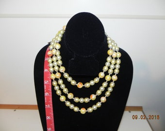 Vintage beaded Necklace; pearl type.. Very Pretty , Missing Clasp