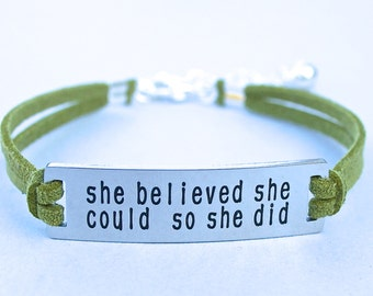 She Believed She Could So She Did , Stainless Steel Bracelet, Faux Suede Leather Cord, Inspirational Quote, AdjustableW/ Ext. Chain,  ST755