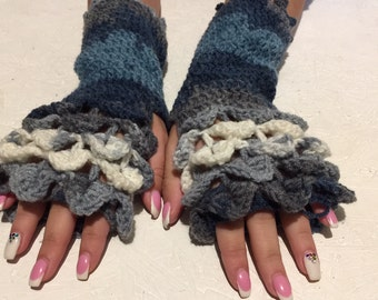 crochet gloves Fingerless dragon scales women fingerless gloves Crocodile Stitch women's Arm Warmers winter gift Accessory christmas gift