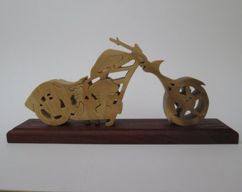 Chopper Bike - Wood - Scroll saw cut - Tulipwood - Gifts for Him - Gifts for Motorbike lovers
