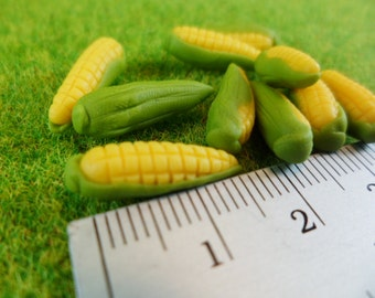 20 Corn on Cobs Dollhouse Miniatures Vegetables Supply, Deco, Cute,Clay