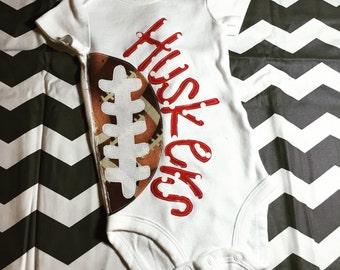 Husker Football Onesie, Nebraska Huskers, Huskers, Football Onesie, Husker Onesie