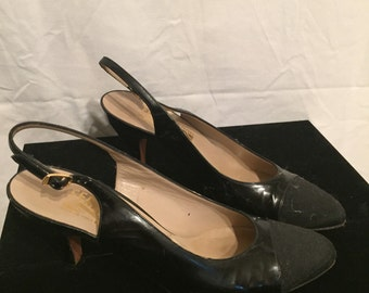 Ferragamo Black Patent Leather and Quilted Toe Slingbacks 8.5 AA Shoes