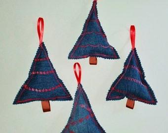 Christmas Tree Ornament, Denim Ornament, UPcycled Christmas Ornament