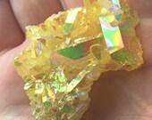 Sunshine Magic Aura Quartz Crystal Cluster ~ bismuth, silicone, titanium coated ~
