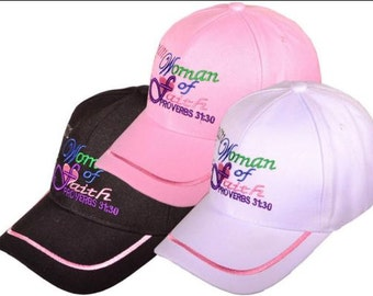 Woman of Faith Embroidered Cap (One Pink/One Black)