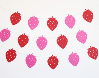 Strawberry Party Banner - Customizable Colors