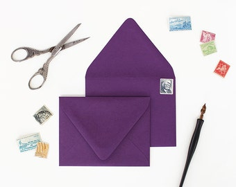 Envelopes - A7 Size - Set of 25 - Plum Color - Deep V Euro Flap