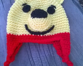 pooh crochet character beanie infant size 6-12 months