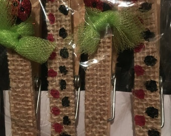 Burlap Ladybug Clothespin Magnets (set 4)