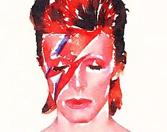 David Bowie Watercolor Print