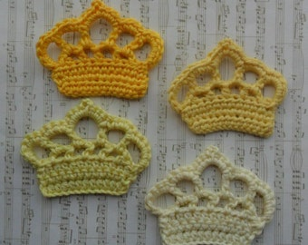 U pick colors - Set of 4 Large Crochet Crowns - 2.7' x 2' or 7 x 5 cm - 91 Colors Available