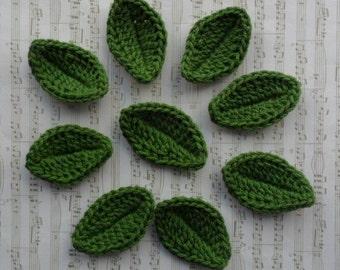 "U Pick Colors - Set of 9 Medium Crochet Leaves - 2"" or 5 cm - 89 Colors Available"