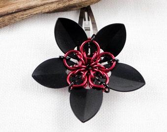 Black Poppy Flower Hair Clip