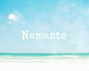 Yoga Art, Namaste Art Prints, Yoga Studio Decor, Yoga Wall Art, Spiritual Art, Yoga Quotes, Beach Photography