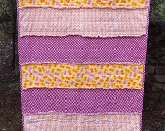 Inventory Reduction Sale - Handmade Cotton Rag Toddler Bed or Lap Quilt, Little Chicks in Pink and Orange - Modern