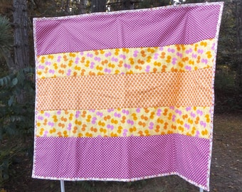 Handmade Baby Chick Crib Quilt - Strip Quilt - Modern Colors, Baby Quilt or Blanket, Designer Fabrics in Pink and Orange
