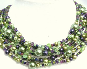 Green,purple Chunky, pearl statement necklace, crystal, beaded, multi strand,handmade, FREE matching earrings