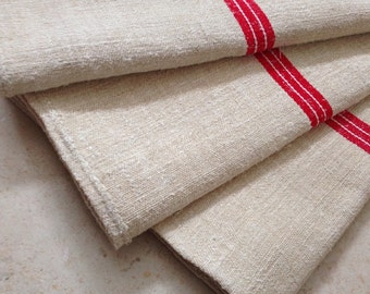Etsy 15 Red White Stripe Linen Grainsack Natural Sandstone