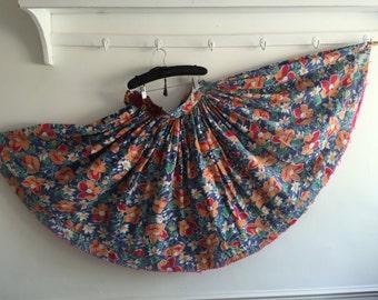 Circle Skirt Vintage Hungarian Folk Skirt Blue Orange Flowers Green Leaves Pink Trim
