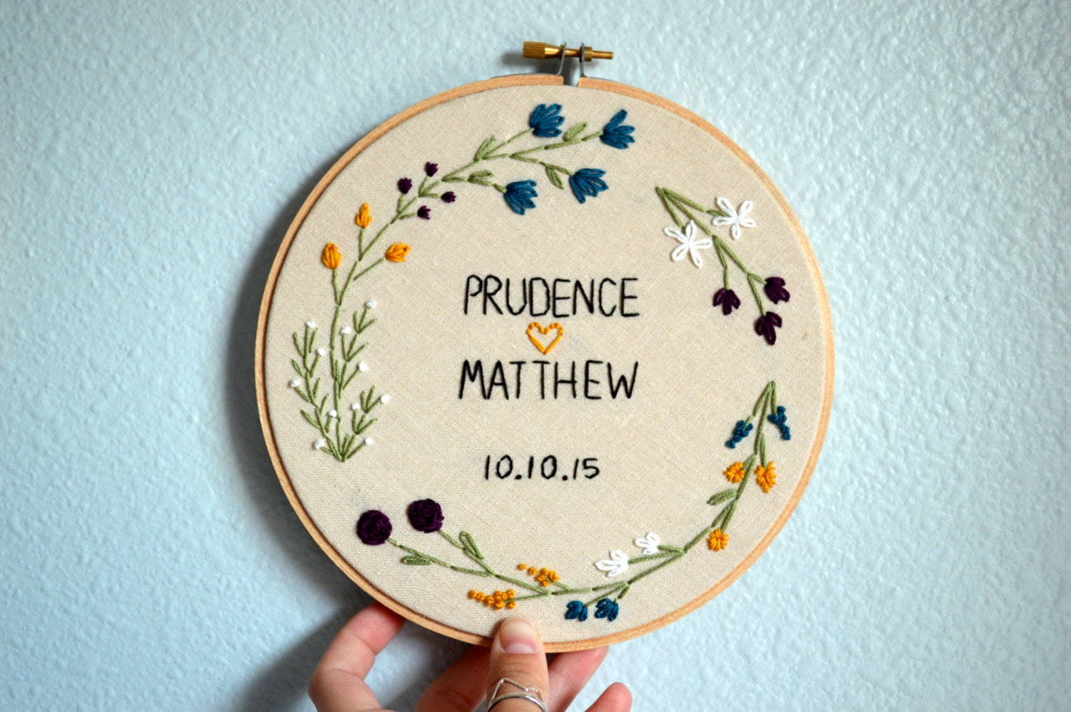 Wedding embroidery hoop customize with couple s by