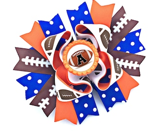 Football Hair Bow, Football Bow, Football Hairbow, Football Hair Clip, Football Headband, Football Baby, Football Girl, Personalized Bow