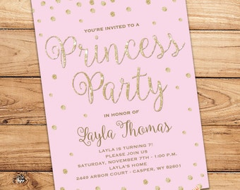 "Princess Birthday Party Invitation - Pink & Gold - Printable - 5""x7"""