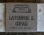 Lavender and Cedar soap, all natural, handmade