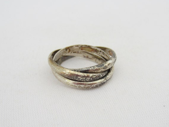 vintage sterling silver multi band rings size 7 5