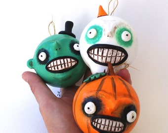 Green Ghoul with tiny hat folk art Halloween ornament paper mache
