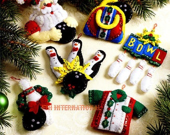 Bucilla Bowling Santa ~ 6 Pce. Felt Christmas Ornament Kit #86453 Penguins Balls DIY