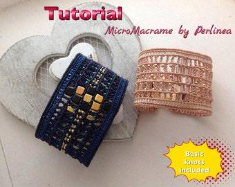 Micro Macrame Tutorial DIY Cuff Bracelet Beaded Macrame