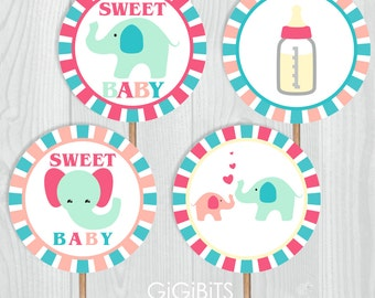 DIY Printable Cupcake Toppers. Baby Shower Cupcake Toppers. 2 Inch Party Circles