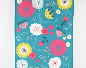 Printed tea towel, bold teal floral design