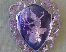 Vintage Siam Brooch.Sterling Silver Niello Siam Brooch C Clasp