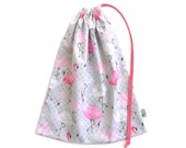 Library Bag or Book Bag. Back to School. Flamingos. Drawstring Bag for Kids Books in Pink and Grey. Gorgeous Shoe Bag or Lingerie Bag.