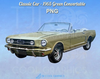 Classic Car 1965 Green Convertible Digital Realistic Clip Art, PNG, Printable, Vehicle, Engine