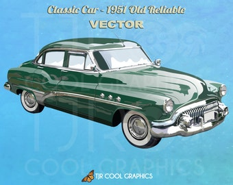 Classic Car 1951 Old Reliable, Vector, Digital, Realistic Clip Art, Commercial, EPS, Printable, Vehicle, Engine