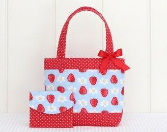 Mini Tote Bag & Purse / Girls Bag / Kids Bag / Wallet - Strawberries
