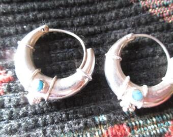Vintage Turquoise and Sterling Hoop Earrings