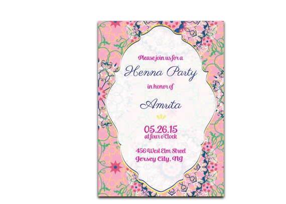 Mehndi Party Evite : Floral bridal shower invitation henna party