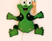 Moveable Wood Puppet .Frog.Marionette .  Cute kid's gift.Toys Handmade. Children Room Decor
