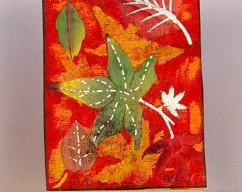 ACEOs. FALL . Miniature Art. Artist Trading Card- Acryl painting. Autumn collage