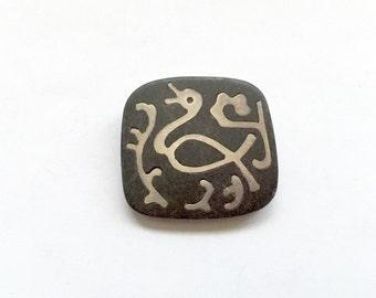 Los Castillo Onix Negro Sterling Pin/Brooch (Black Onyx) Abstract Bird 1960's