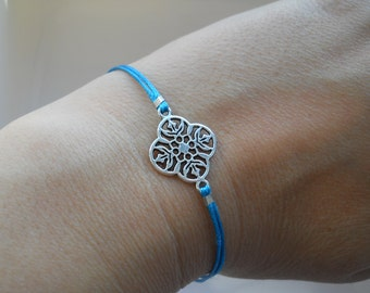 Floral bracelet, waxed cord bracelet, turquoise bracelet, minimalist jewelry, string bracelet, friendship bracelet, silver floral connector
