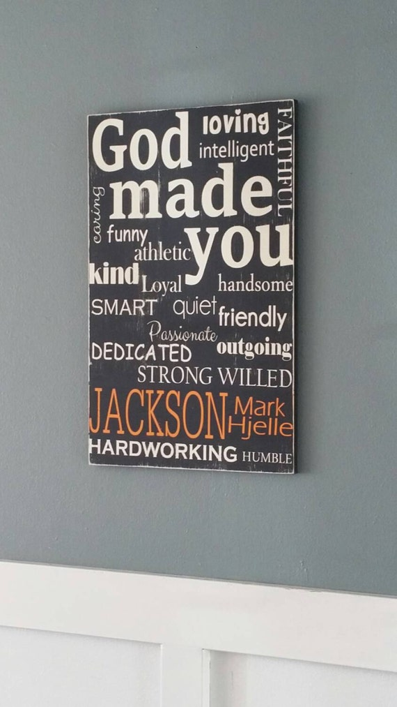 Items similar to personalized god made you painted wood for Etsy dining room wall art