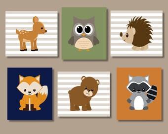 WOODLAND Nursery Art, Woodland Nursery Decor, Woodland Forest Animal Bear Deer Fox OWL Raccoon DEER Boy Bedroom Set of 6 Prints Or Canvas