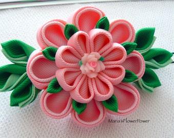 Handmade Kanzashi fabric flower grosgrain ribbon french barrette, hair accessories in UK, shipping worldwide, Fabric Flower Hair Fascinator