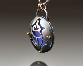 Domed Scarab Heart Necklace
